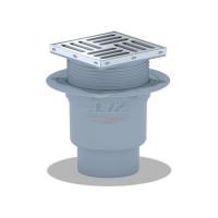АНИ пласт TQ1712 Трап вертикальный регулируемый с выпуском 110мм, с нержавеющей решеткой 150*150 сухой затвор