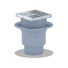 Трап для душа АНИ пласт TQ1712 вертикальный регулируемый, d110мм, с нержавеющей решеткой 150x150 сухой