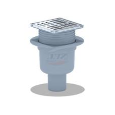 Трап для душа АНИ пласт TQ5702 вертикальный регулируемый с выпуском 50мм, с металлической решеткой 100х100 сухой