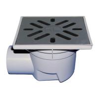 HL HL605 Уличный трап серии Perfekt DN110 горизонтальный выпуск 244х244мм ПП/226х226мм чугун, с морозоустойчивым запахозапирающим устройством