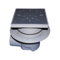 Трап уличный HL HL615L Perfekt DN110 горизонтальный с обжимным фланцем, ПП с морозоустойчивой запахозапирающей заслонкой