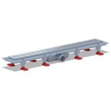 Трап для душа АНИ пласт TL1456G пластиковый линейный 650х62, диаметр выпуска 40 мм, решетка нержавеющая сталь, глянец