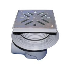 Трап уличный HL HL615S Perfekt DN110 с обжимным фланцем, нержавеющая сталь, с морозоустойчивой запахозапирающей заслонкой