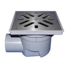 Трап уличный HL HL605S Perfekt DN110 горизонтальный, нержавеющая сталь, с морозоустойчивой запахозапирающим устройством