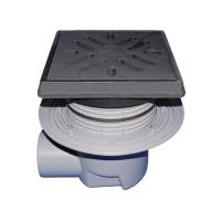 Трап уличный HL HL615.1 Perfekt DN110 с обжимным фланцем, чугун с морозоустойчивой запахозапирающей заслонкой